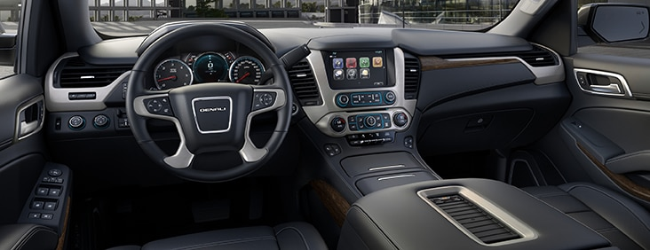 Seat adjustment controls on the 2015 Yukon Denali XL full size extended luxury SUV.